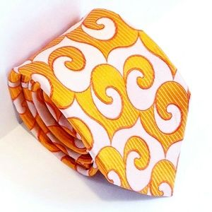 Edo Popken Orange Paisley Silk Tie Italy